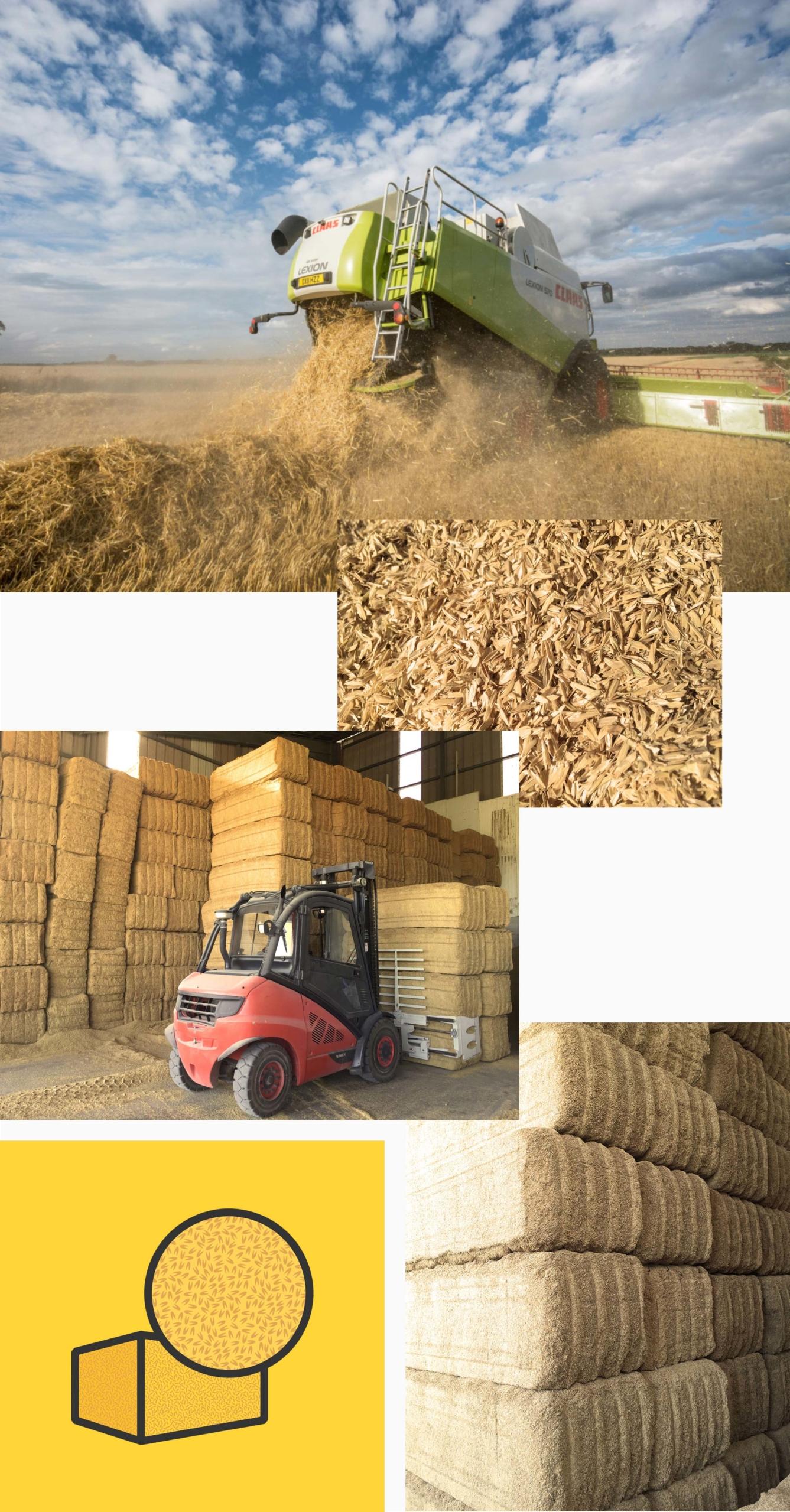 images introductives, du champs au ballot de balle de riz
