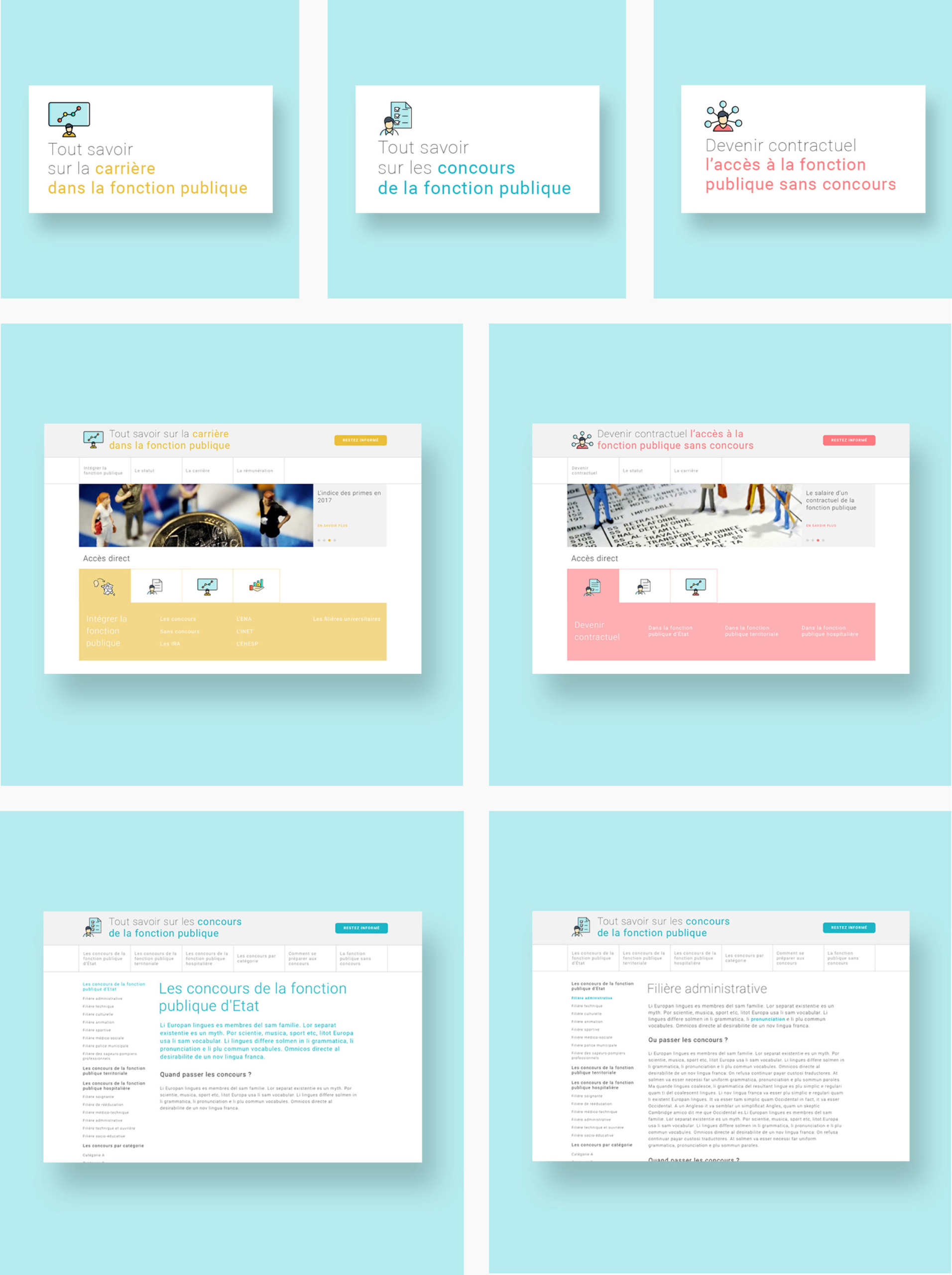 Images des sites web sur les concours de secteur public
