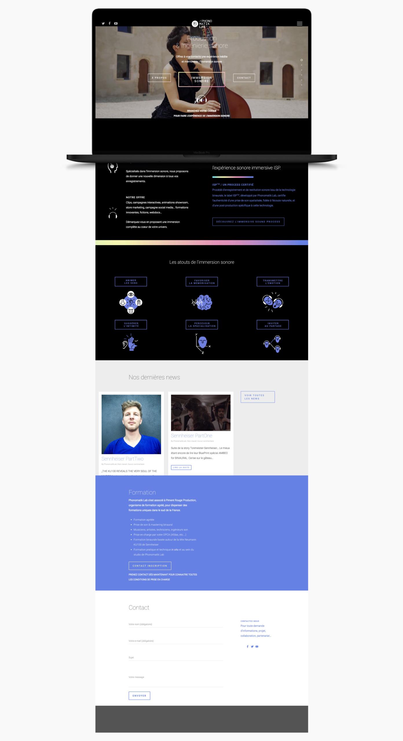 Mockup de la homepage de phonomatik-lab