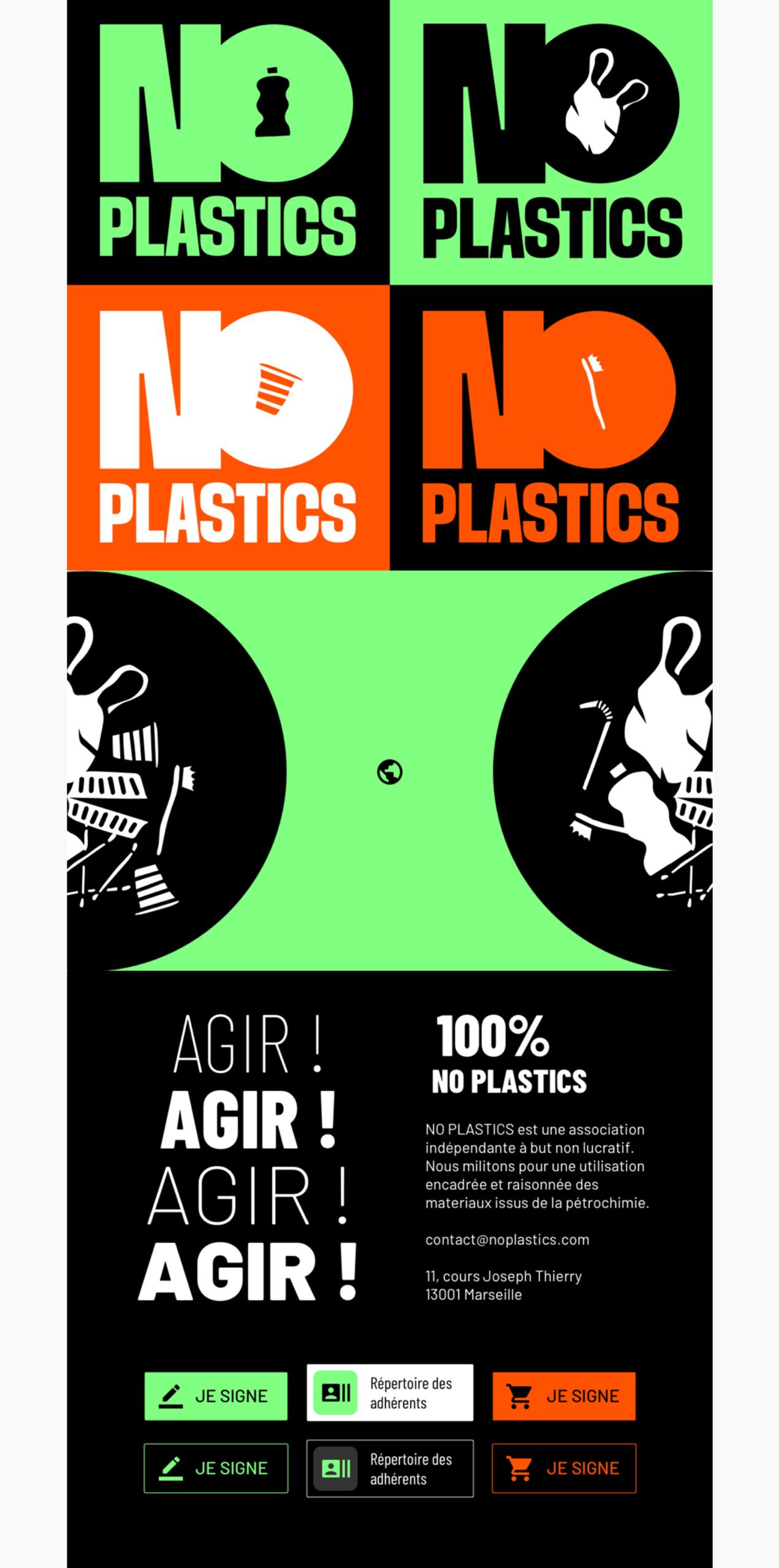Plance de la charte graphique de NO PLASTICS