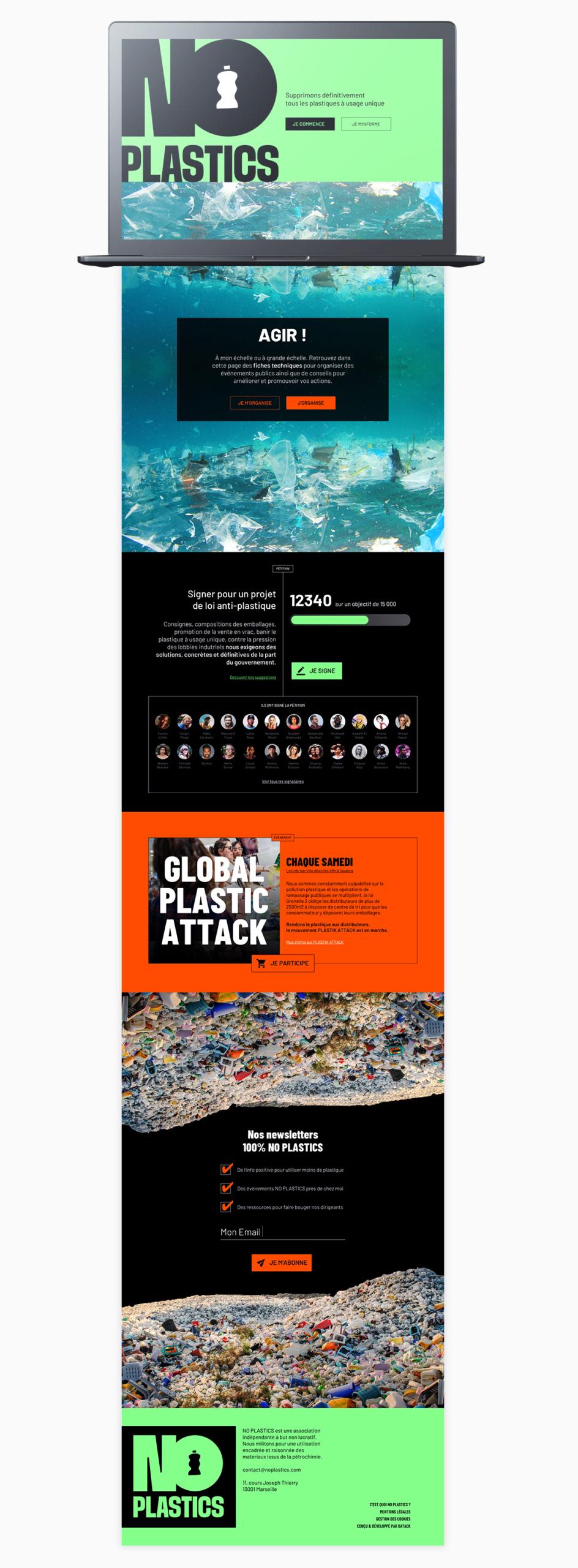 Mockup du site NO Plastics