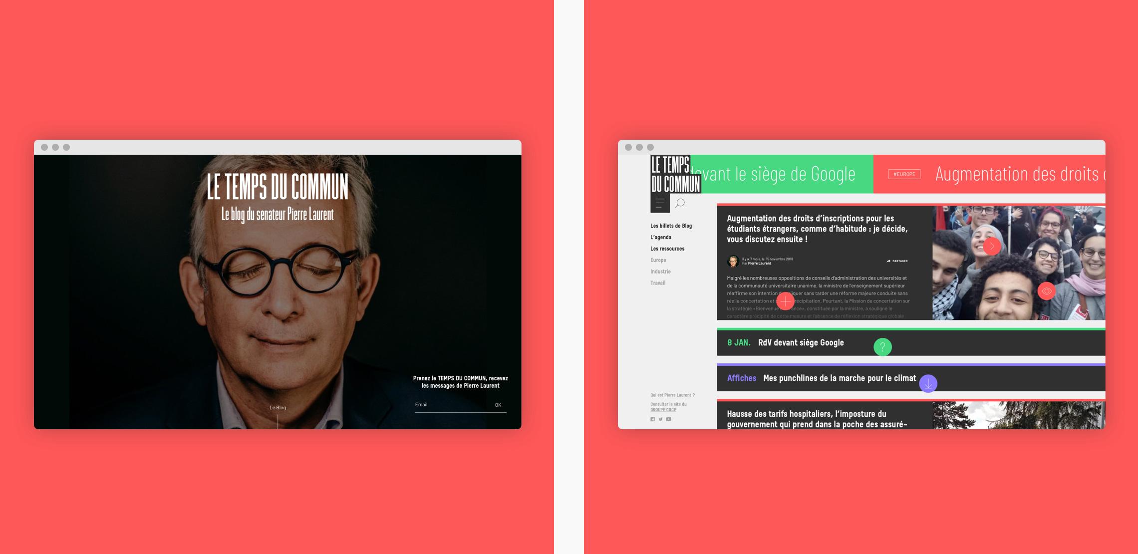 Homepage du site politique
