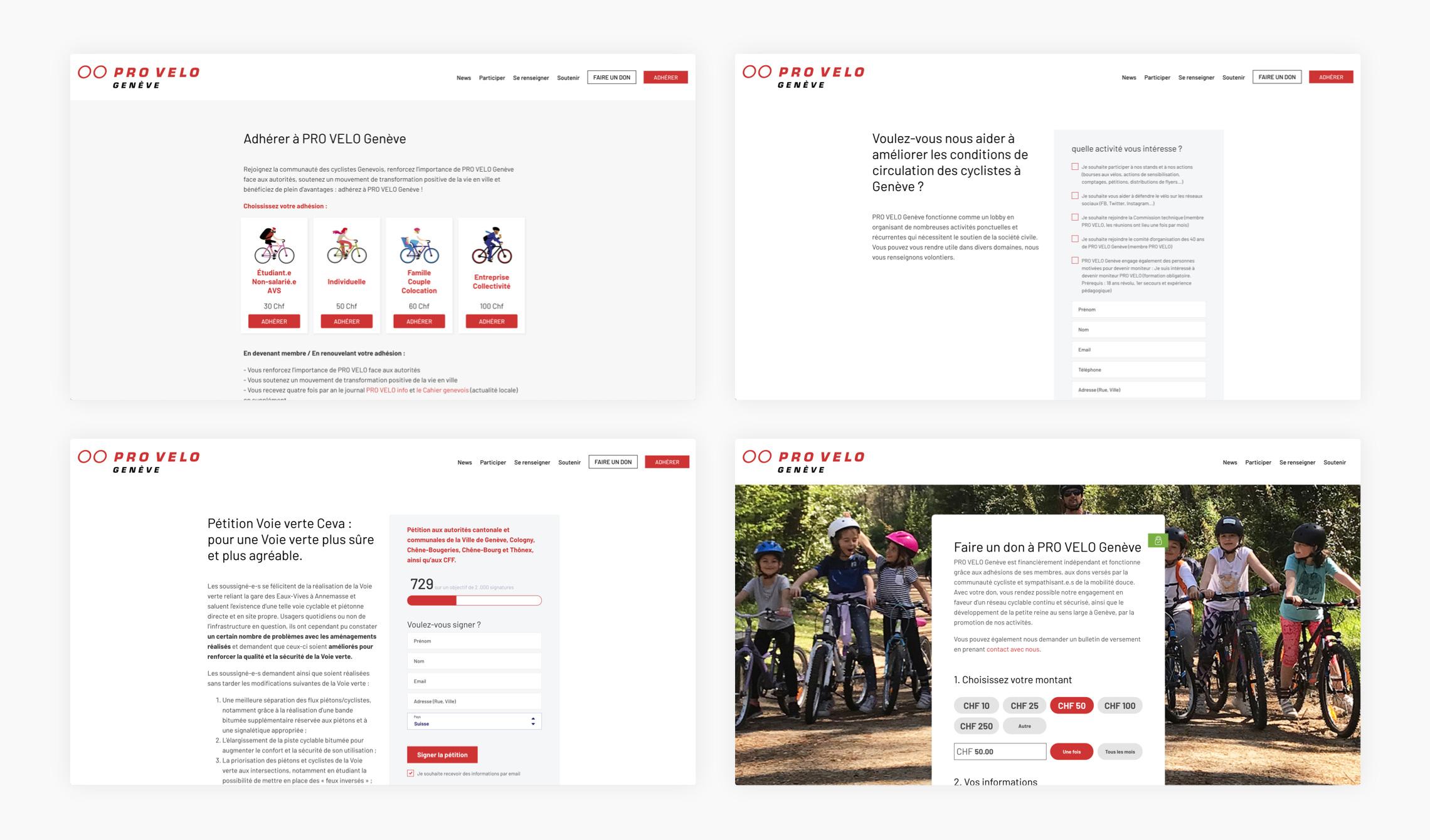 Images des pages d'action du site web
