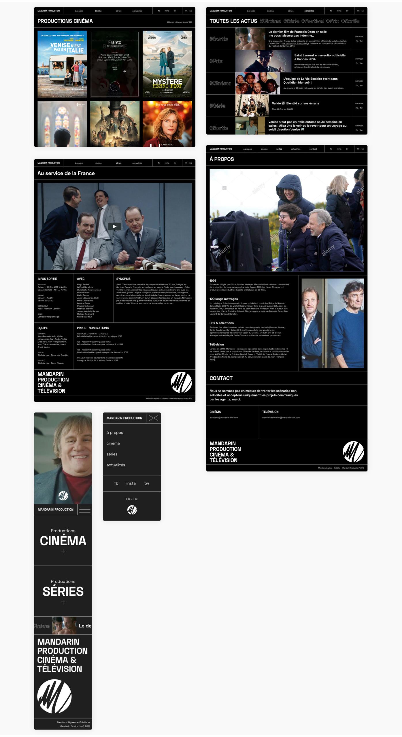 Écrans divers du site