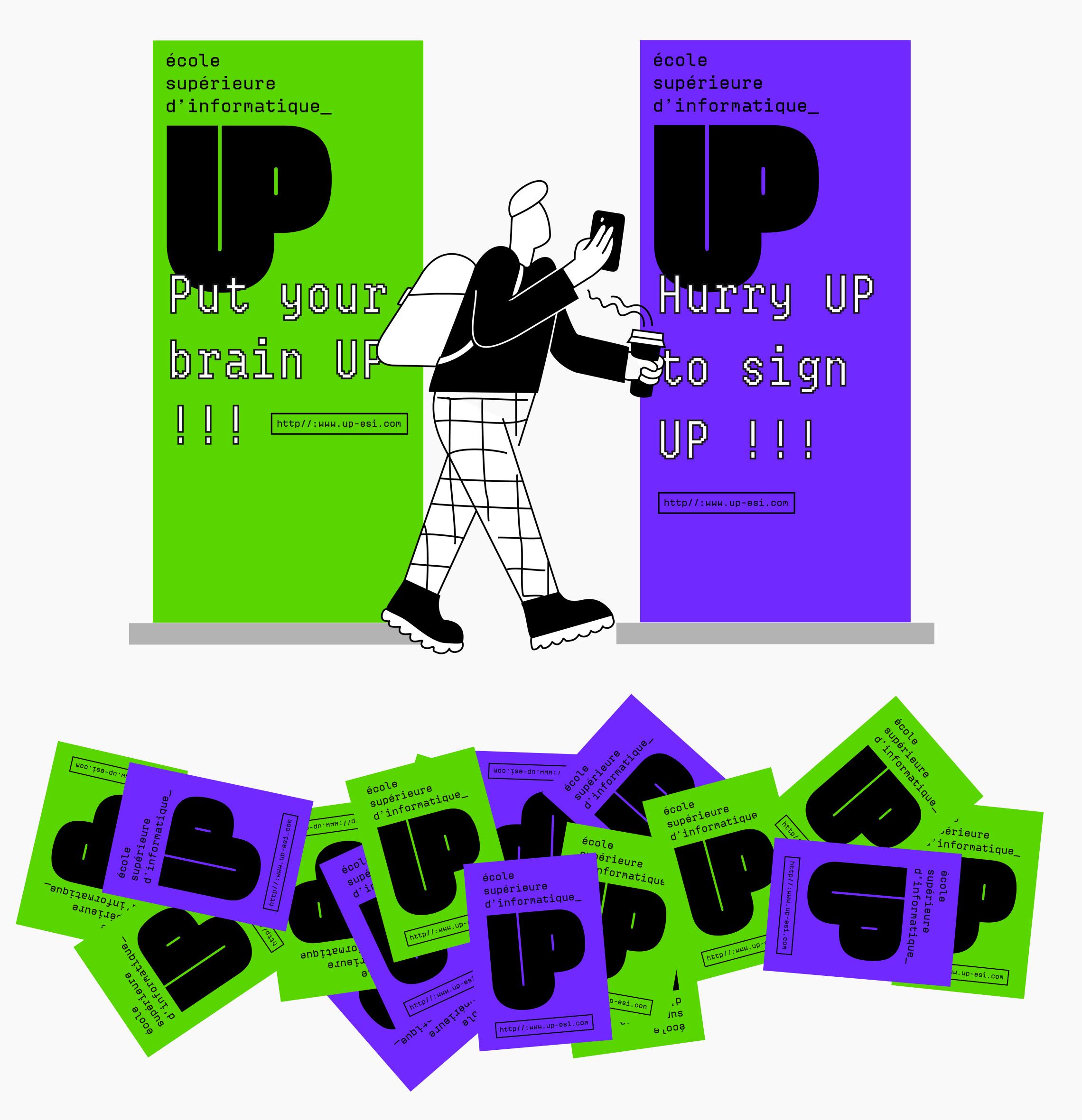 Kakemono et carte de visite de l'école UP
