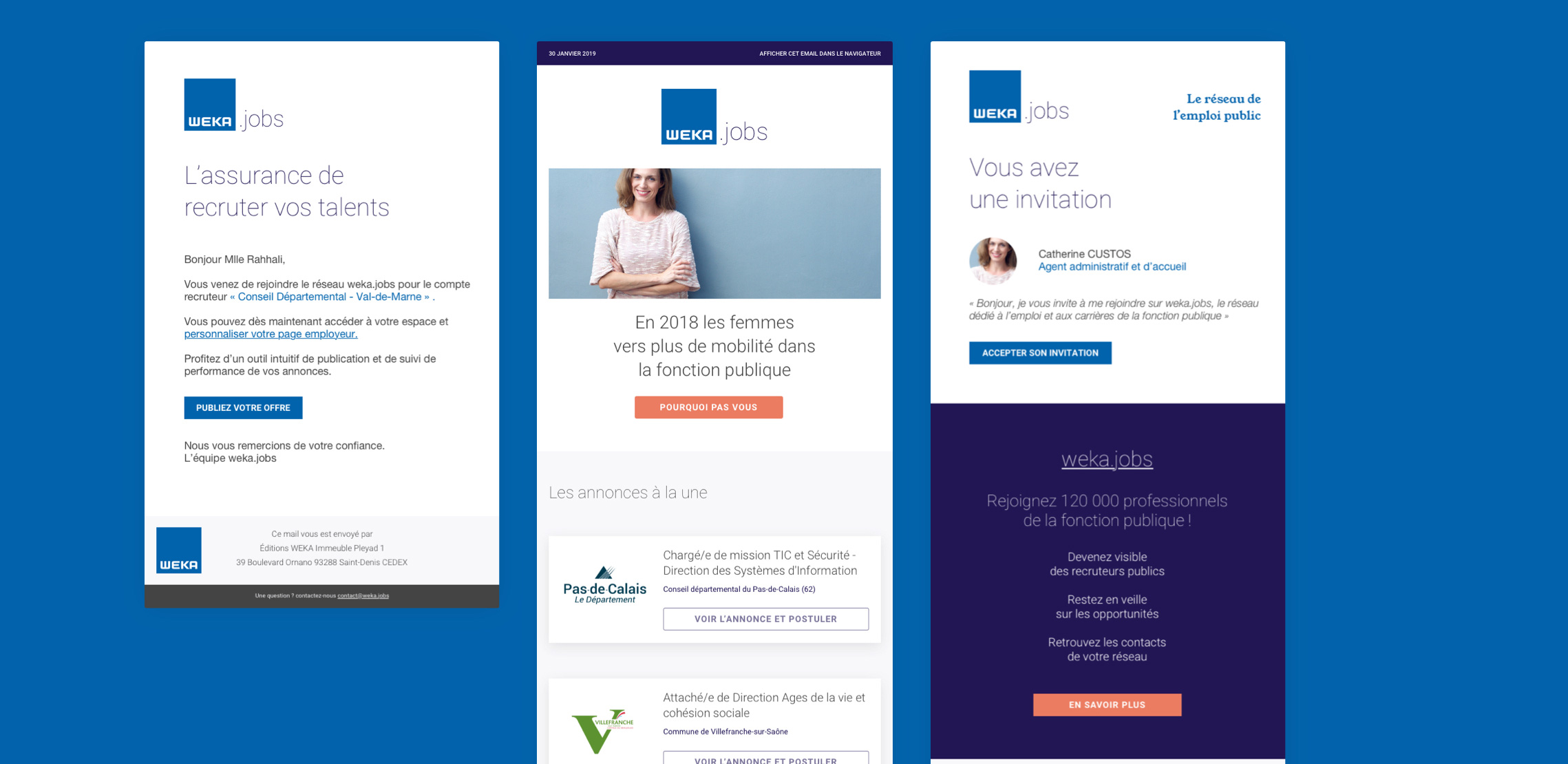 Images des newsletters Weka.jobs