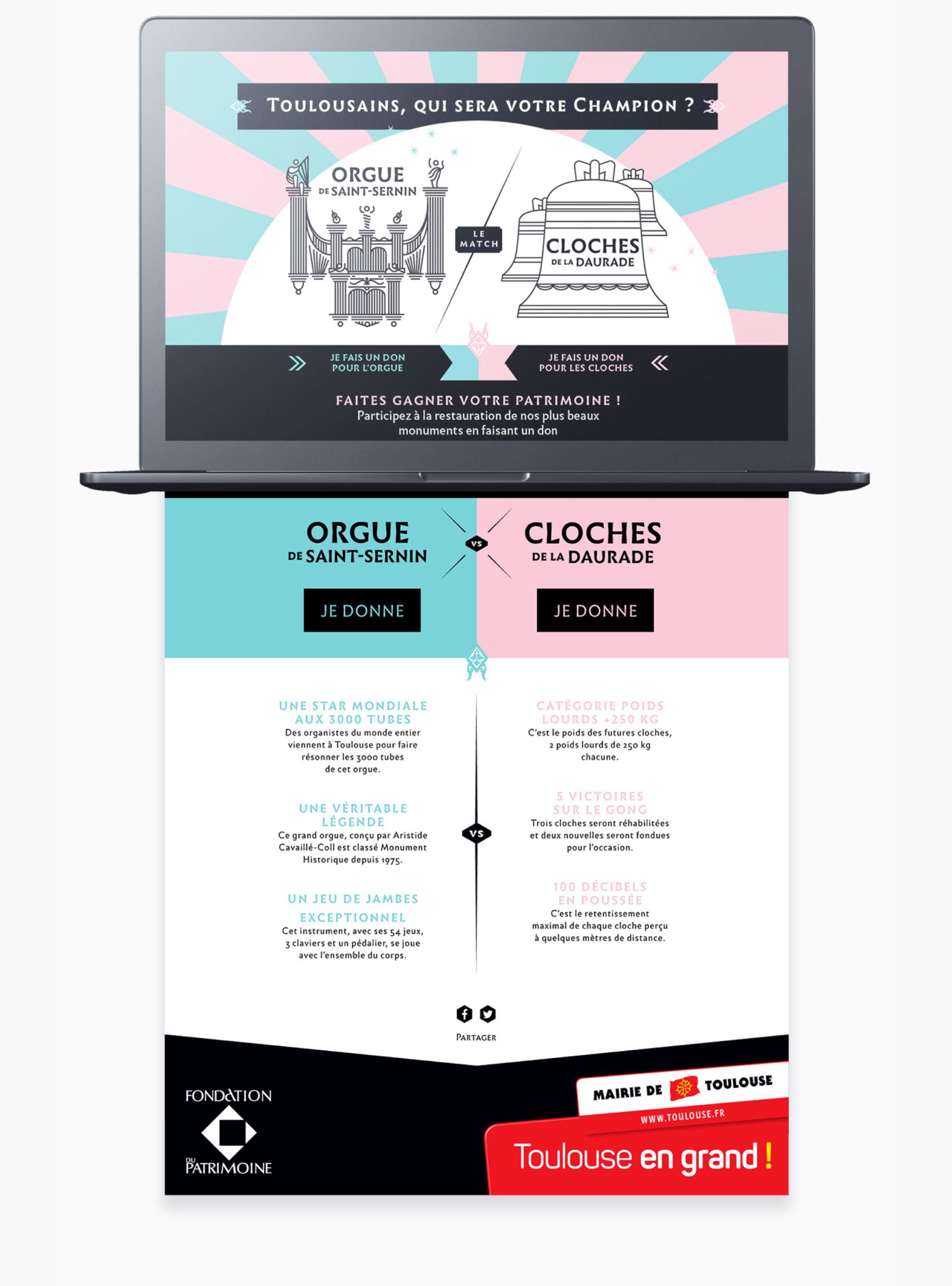 Homepage du site web de réhabilitation du patrimoine de la ville de Toulouse